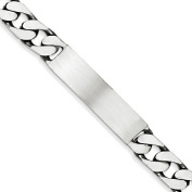 .925 Sterling Silver 9.00MM Antiqued Curb Link ID Bracelet 8.50 Inches