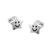 GALLAY Ladies Stud, Star with Face, Silver 925