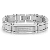 Steel Nation Jewellery Men.s Stainless Steel .25cttw White Diamond Satin Finished - Mens Link Bracelet, 8.5.
