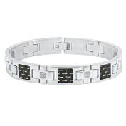 Steel Nation Jewellery Men.s Stainless Steel .20cctw White Diamond Black Carbon Fibre Inlay Cross Link - Mens Bracelet, 8.5.