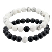Bodhi2000 Couple Distance Bracelets for Lovers-2pcs Black Matte Agate White Howlite 8mm Beads