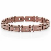 "Steel Nation Jewellery Men's Brown Stainless Steel Diamond Accent - Mens Bracelet, 8"""