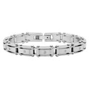 "Steel Nation Jewellery Men's Stainless Steel White Diamond Accent - Mens Link Bracelet, 8.5"""