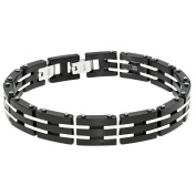 BIG Jewellery Co Stainless Steel Men's Link Bracelet with Black Ip Plating