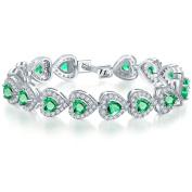 Onefeart White Gold Plated Bracelet for Women Girls White Cubic Zirconia Heart-shaped Elegance 17CM
