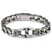 Hermah 15mm Mens Silver Tone 316L Stainless Steel Curb Cuban Bracelet Curved Edge 10.20inch