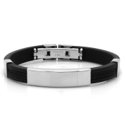 HMY jewellery Black Rubber/Stainless Steel ID Bracelet