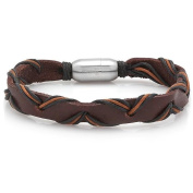 HMY jewellery Men's Brown Leather Intertwined Bracelet