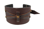 Brown Distressed Leather Strap Bracelet Wristband