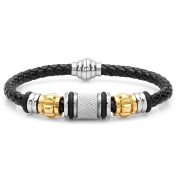 HMY jewellery Black Leather and Two-tone Stainless Steel Bracelet