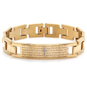 HMY jewellery Men's 18k Gold-plated Stainless Steel 'Our Father' ID Bracelet