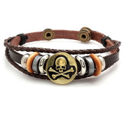 HMY jewellery Brown Leather/Stainless Steel Skull and Bones Medallion Bracelet