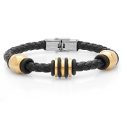 HMY jewellery Goldplated Stainless Steel and Black Leather Bracelet