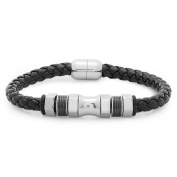 HMY jewellery Black Leather and Stainless Steel Bracelet