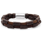 HMY jewellery Men's Brown Leather Double-layered Bracelet