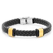 HMY jewellery Men's Black Leather and Gold-Plated Bracelet
