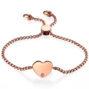 Women Adjustable Bracelet,Cupimatch Rosegold Heart Drawstring Stainless Steel Charm Bracelet Link Anklet Chain 22cm
