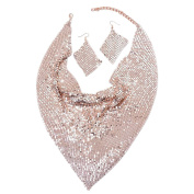 Christmas SpecialGlittering Rose Gold Collar Necklace, Hook Earrings in Rose Gold Tone