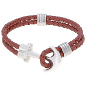 BIG Jewellery Co Brown Leather Bracelet with Stainless Steel Anchor Clasp