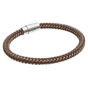 BIG Jewellery Co Stainless Steel Brown and Grey Thread Braided Cable Bracelet