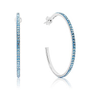 DTPSilver - 925 Sterling Silver Half Hoops Earrings with Crystal Elements - Colour : Aquamarine Blue - 40 mm