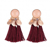 TOOGOO(R) Bohemian Drop Alloy Wafer Tassel Earrings for Women Fashion Jewellery Women Statement Dangle Earrings Wine Red