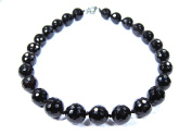 Faceted Gemstone Necklace Onyx Ball Diameter 16 mm