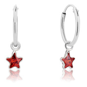 DTPSilver - 925 Sterling Silver Small Hoops Earrings and Dangling Star with Crystal Elements - Colour : Indian Red