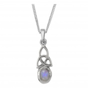 Celtic Holy Trinity Knot Sterling Silver Birthstone Pendant Necklace June - Moonstone Stone - Includes 60cm Chain