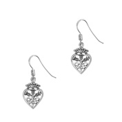 Scottish Traditional Thistle Flower of Scotland Sterling Silver Love Heart Crown Earrings