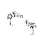 Engraved Flamingo Sterling Silver Stud Earrings 9mm