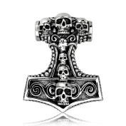 Sistakno Sterling Silver 925 Viking Skull Head Amulet Mjölnir Hammer of Thor Norse God Pendant