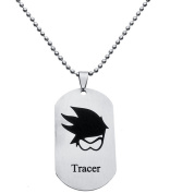 Coat of Arms Stainless Steel Pendant Necklace Chain Accessories Spherical Pendant Jewellery in Silver Model Overwatch Tracer Tracer