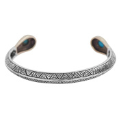 AnazoZ S925 Sterling Silver Retro Punk Style Cuff Bracelet Turquoise