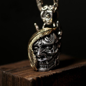 Men's 925 Sterling Silver Pendant Necklace Vintage Demon Skull with 50 cm Chain