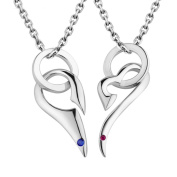 925 Sterling Silver Pendant Necklace for Couple with Zirconia Upgraded Exquisite Gift Package