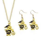 Yiwa Women Girls Jewellery Set Christmas Tree Bell Pendant Necklace + Earring Eardrop Xmas Gift