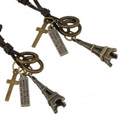 Yiwa Creative Retro Pyramid Cross Necklace Ornament Unique Fashionable Alloy Pendant Necklace