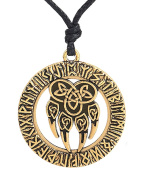 Nordic Runes Talisman Necklace Bear Paw Claw Pendant Necklace Pagan Jewellery