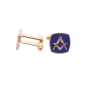 Set Square and Compass Masonic Cufflinks – Navy Blue Enamel and Gold