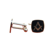 Black and Gold Enamelled Masonic Cufflinks – Set Square and Compass