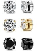 BESTEEL Jewellery 3 Pairs Stainless Steel Magnetic Stud Women and Mens Earrings Cubic Zirconia 6mm 8mm