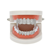 MCSAYS Hiphop Jewellery Teeth Grillz Set(Top & Bottom) Full Crystal CZ Bling Teeth Grillz Gold/Sliver Colour Tooth Caps For Men/Women Gifts