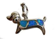 Samira Opal Dachshund Dog Pendant – Silver Fog – Exclusive Summer Jewellery