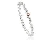 Clogau Silver And 9ct Rose Gold Celebration White Topaz Bangle Bracelet Jewellery