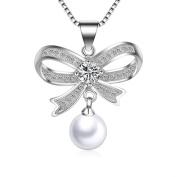 IzuBizu London White Pearl Butterfly Knot Pendant 925 Stirling Silver Elegant Diamond Bow Necklace - Free Gift Box