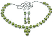 Sterling SILVER Necklace Earrings SET Peridot Natural Gemstones 925 Jewellery, August Birthstone, Green Stones