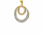 PEGASO Jewellery Pendant – 18 KT Yellow and White Gold Two-Tone Round Central Cubic Zirconia – Pendant Women Girl