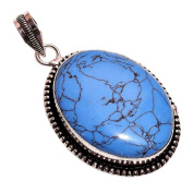 925 Sterling Silver Overlay NLG-72 Tibetan Turquoise Stone Width 3.3cm Girls Women's Pendant Necklace Rhodium Plated Chain