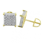 9mm Wide Cube Earrings Yellow Gold-Tone 1/5cttw Diamonds Pave Mens